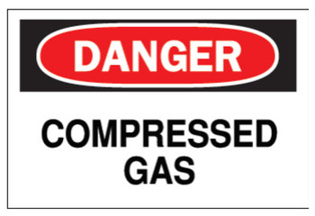 Brady Chemical & Hazardous Material Signs, Danger, Compressed Gas, White/Red/Black (1 EA/BOX)