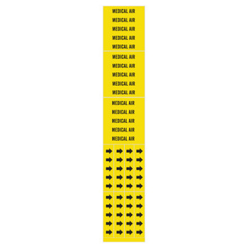 Brady Medical Gas Pipe Markers, Medical Air, Black on Yellow, 2 1/4 in x 2 3/4 in (1 CG/BOX)