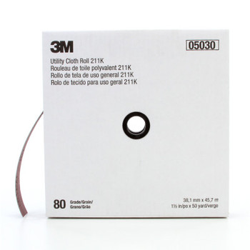 3M 211K Utility Cloth Sheets and Rolls, Aluminum Oxide, 1 1/2 in x 50 yd, 80 Grit (1 EA/BAG)