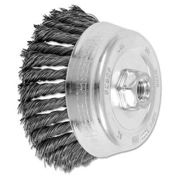 Advance Brush Standard Twist Single Row Cup Brush, 5 in Dia., 5/8-11 Arbor, .023 Carbon Steel (1 EA/CT)