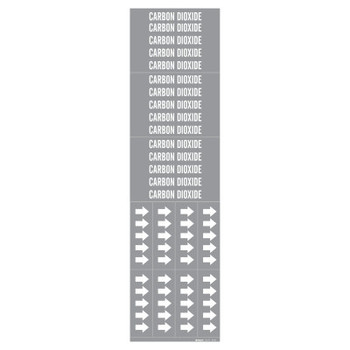 Brady Medical Gas Pipe Markers, Carbon Dioxide, White on Gray Vinyl, 2 1/4 x 2 3/4 (1 CG/BX)