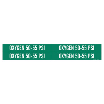 """Brady Medical Gas Pipe Markers, Oxygen 50-55 PSI, White on Green Vinyl, 1 1/8"""" x 7"""" (1 CG/BX)"""
