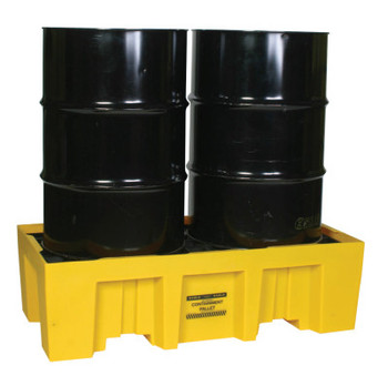 Eagle Mfg Spill Containment Pallets, Yellow, 4,000 lb, 66 gal, 26 1/4 in x 51 in (1 EA/BX)