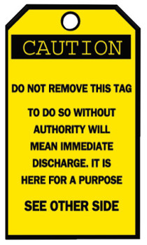 Brady Blank Accident Prevention Tags, 3 1/4 x 5 5/8 in, Caution (25 PKG/BX)