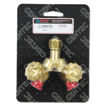 """Gentec CGA Adapters and Valves, """"Y"""" Connection, 200 PSI, Brass, 9/16 in - 18 (1 EA/BX)"""