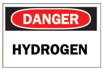 Brady Chemical & Hazardous Material Signs, Danger/Hydrogen, White/Red/Black (1 EA/CTN)