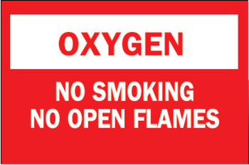 Brady Chemical & Hazardous Material Signs, Oxygen/No Smkg/No Open Flames, Plstc,Rd/Wt (1 EA/EA)