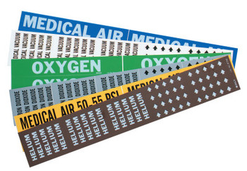 Brady Medical Gas Pipe Markers, Medical Air, White on Blue Vinyl, 1 1/8 in x 7 in (1 CG/CTN)