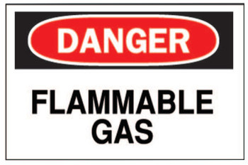 Brady Chemical & Hazardous Material Signs, Danger/Flammable Gas, White/Red/Black (1 EA/EA)