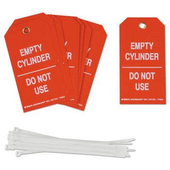 Brady Cylinder Status Tags, 3 in x 5.3 in, Empty Cylinder/Do Not Use, White/Red (10 PKG/EA)