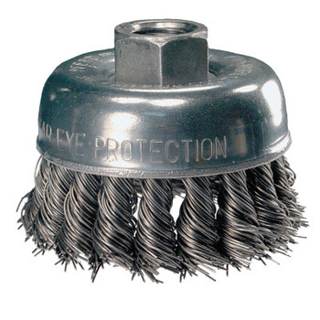 Advance Brush Mini Knot Cup Brush, 2 3/4 in Dia., 5/8-11 Arbor, .02 in Carbon Steel Wire (1 EA/CA)
