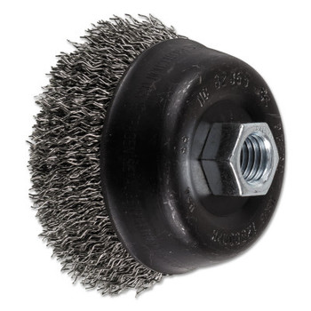 Advance Brush Mini Crimped Cup Brush, 3 1/2 in Dia., 5/8-11 Arbor, .02 in Stainless Steel Wire (1 EA/CA)