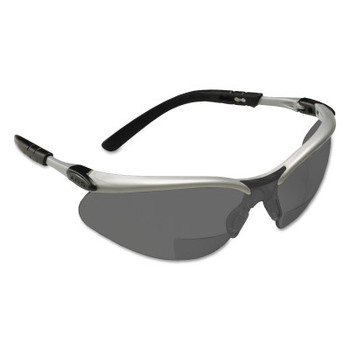3M BX Safety Eyewear, Gray +2.5 Diopter Polycarbonate Hard Coat Lenses, Silver/Blk (20 EA/CS)
