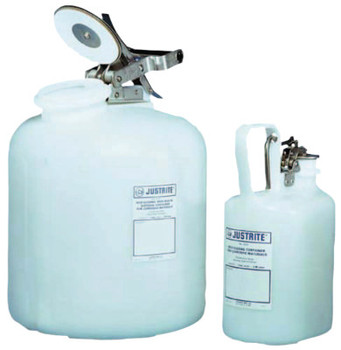 Justrite Self-Close Corrosive Containers for Laboratories, Hazardous Liquid, 1 gal, White (1 EA/CA)