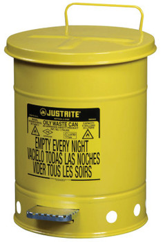 Justrite Yellow Oily Waste Cans, Foot Operated Cover, 6 gal (1 EA/CA)