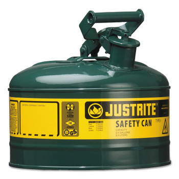 Justrite Type I Safety Cans, Oils, 1 gal, Green (1 EA/CT)