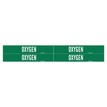Brady Medical Gas Pipe Markers, Oxygen, White on Green Vinyl, 1 1/8 in x 7 in (1 CG/EA)