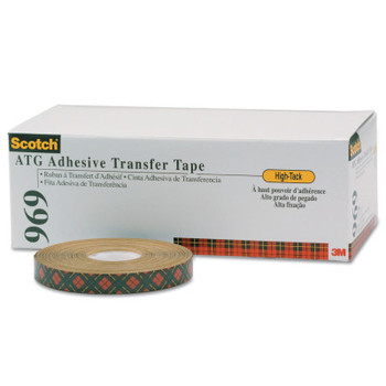 3M Scotch A.T.G. Adhesive Transfer Tape 969, 3/4 in x 18 yd, 5 mil, Clear (48 CA/EA)