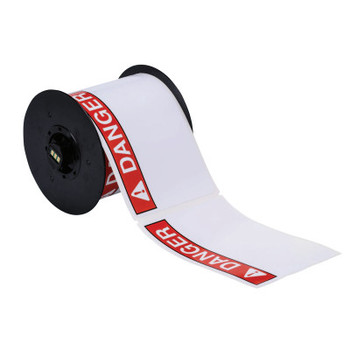 "Brady BBP31 Indoor/Outdoor Vinyl Tapes, 6 in, ""Danger"", White/Red/Black (1 RL/RL)"
