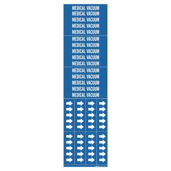 "Brady Medical Gas Pipe Markers, Medical Vacuum, White on Blue Vinyl, 2 1/4"" x 2 3/4"" (1 CG/RL)"