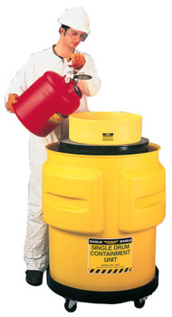 Eagle Mfg Spill Containment Drums, Yellow, 65 gal,  33 in x 31 in (1 EA/RL)