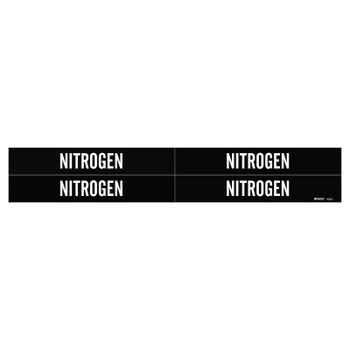 Brady Medical Gas Pipe Markers, Nitrogen, White on Black Vinyl, 1 1/8 in x 7 in (1 CG/KT)