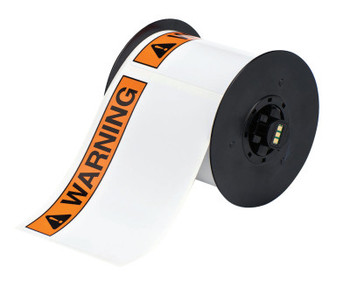 "Brady BBP31 Indoor/Outdoor Vinyl Tapes, 6 in, ""Warning"", Black/Orange (1 RL/EA)"