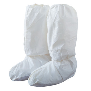 DuPont Tyvek IsoClean High Boot Covers with PVC Soles, Large, White (200 CA/EA)