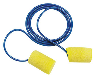 3M E-A-R Classic Foam Earplugs, Polyurethane, Yellow, Corded (75 BX/EA)