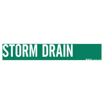 Brady Self-Sticking Vinyl Pipe Markers, STORM DRAIN, White on Green, 14 in x 2.4 in (1 EA/EA)