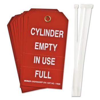 Brady Cylinder Status Tags, 6 in x 6 1/2 in, Cylinder Empty/In Use/Full, White/Red (10 PKG/CG)