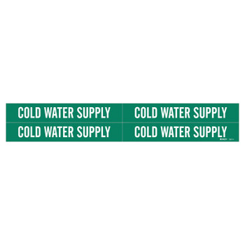 Brady Self-Sticking Vinyl Pipe Markers, COLD WATER SUPPLY, White/Green, 1 1/8 x 7 (1 EA/EA)