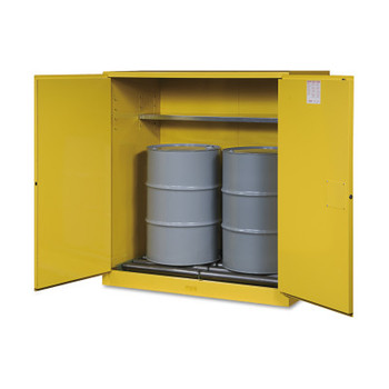 Justrite Vertical Drum Safety Cabinets, Manual-Closing, (2) 55 Gallon Drum, w/Rollers (1 EA/ROL)