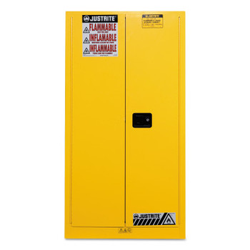 Justrite Yellow Vertical Drum Safety Cabinets, Self-Closing Cabinet, (1) 55 Gallon Drum (1 EA/EA)