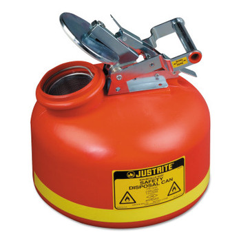 Justrite Red Liquid Disposal Cans, Flammable Waste Can, 2 gal, Red, Stainless Steel (1 CN/CTN)