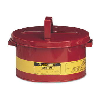 Justrite Bench Cans, Hazardous Liquid Cleaning Can, 2 gal, Red (1 CAN/CTN)