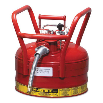 Justrite Type II AccuFlow DOT Safety Cans, Flammables, 2 1/2 gal, Red (1 EA/CT)