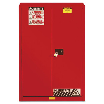Justrite Safety Cabinets for Combustibles, Manual-Closing Cabinet, 60 Gallon, Red (1 EA/BOX)