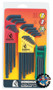 Bondhus Balldriver L-Wrench Fold-Up Set, 30 pieces T9-T40, Torx Tip, Inch/Metric (1 SET/EA)
