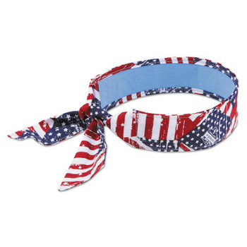 Ergodyne Chill-Its 6700 Evaporative Cooling Bandanas, 8 in X 13 in, Stars/Stripes (1 EA/CA)