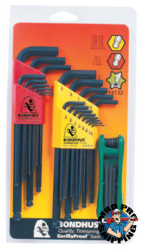 Bondhus Balldriver L-Wrench Fold-Up Set, 30 pieces T6-T25, Torx Tip, Inch/Metric (1 SET/EA)