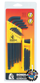 Bondhus Balldriver L-Wrench and Fold-Up Set Combinations, 22 pieces, Hex Ball Tip, Inch (1 SET/EA)