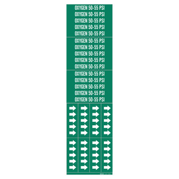 """Brady Medical Gas Pipe Markers, Oxygen 50-55 PSI,White on Green Vinyl, 2 1/4"""" x 2 3/4"""" (1 CG/EA)"""