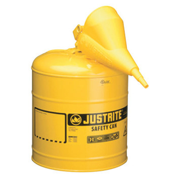 Justrite Type I Safety Cans w/Funnel, Flammables, 5 gal, Yellow (1 EA/EA)