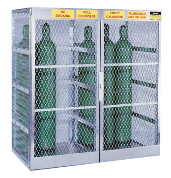 Justrite Aluminum Cylinder Lockers, Up to 20 Gas Cylinders (1 EA/EA)