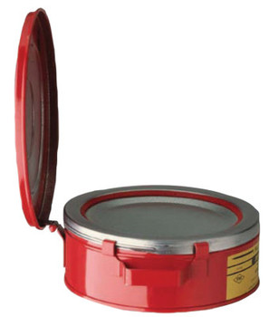 Justrite Bench Cans, Hazardous Liquid Cleaning Can, 2 qt, Red (1 CAN/EA)