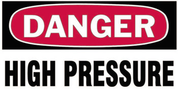 Brady Gas Cylinder Lockout Labels, Danger High Pressure Gas, 5 in W x 3 in L, White/RD (10 PKG/EA)