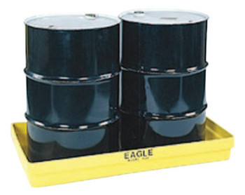 Eagle Mfg 2-Drum Budget Basins, Yellow, 5,000 lb, 34 gal, 51 1/2 in x 26 1/4 in (1 EA/EA)