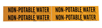 Brady Self-Sticking Vinyl Pipe Markers, Non-Potable Water, Black/Yellow, 7 in x 7 in (1 EA/EA)