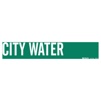 Brady Self-Sticking Vinyl Pipe Markers, City Water, White on Green, 14 in x 14 in (1 CG/EA)